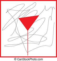 Abstraction in the red tones wine glass and black curved...