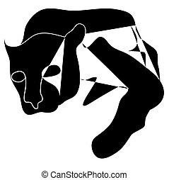 Art cubism black silhouette of black pantera - Art cubism...
