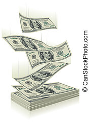 money falling - flying dollar bills, the concept of success