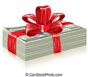 thick bundle of dollars, tied a red ribbon with a bow, the...