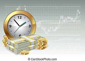 Time is money concept - Clock and money on a background of...