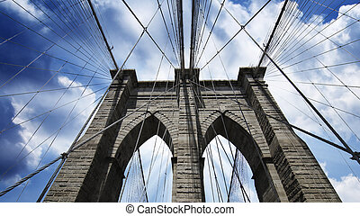 Sky over Brooklyn Bridge in New York City