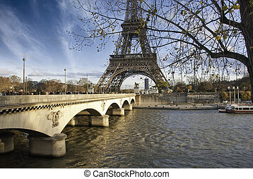 Tour Eiffel and Pont d'Iena, Paris - Tour Eiffel and Pont...