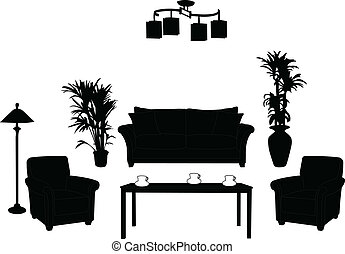 Living room design silhouette - vector
