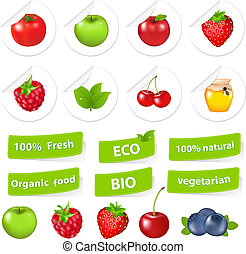 Eco Set, Organic Food, Isolated On White Background, Vector...