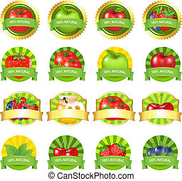 Fruits And Vegetables Labels Set, Isolated On White...