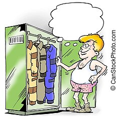 Different jumpsuits in working closet