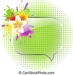 Glass Speech Bubbles With Plumeria, Isolated On White...