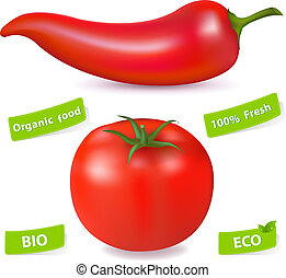 Red Hot Chili Pepper And Tomato, Isolated On White...