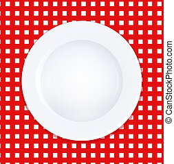 White Plate On Checkered Tablecloth, Vector Illustration