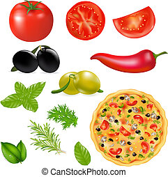 Set Of Products With Pizza, Isolated On White Background,...