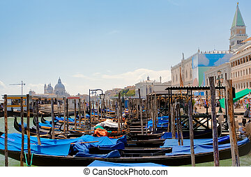 gondolas near Piazza San Marco in Venice - parking of...