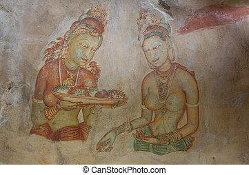 Ancient famous wall frescoes at Sigirya, Sri Lanka - Ancient...