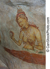 Ancient famous wall frescoes at Sigirya, Sri Lanka - Ancient...