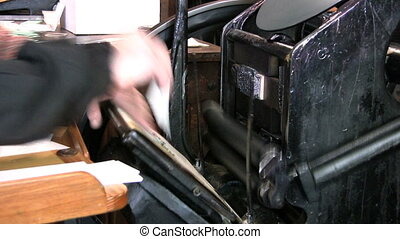 Old Style Printing Press - An antique printing press...
