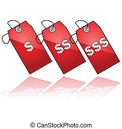 Price tags - Glossy illustration showing three price tags...