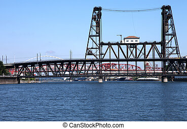 The steel bridge, Portland OR. - The steel bridge an old...