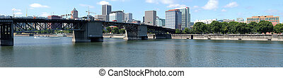 Morrison bridge panorama. - The Morrison bridge and downtown...
