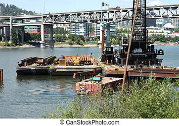 Construction site for a new bridge. - Starting on a...