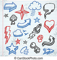 Sketchy icons - Set of sketched icons and shapes on notepad...