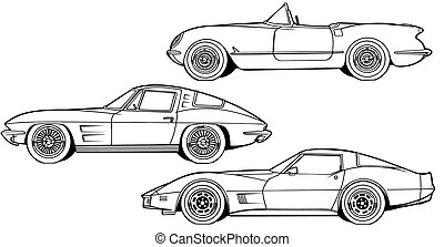 Three Generations of Sports Car - Black Line Illustration