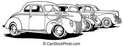Parked Hot Rods - Black Line Illustration