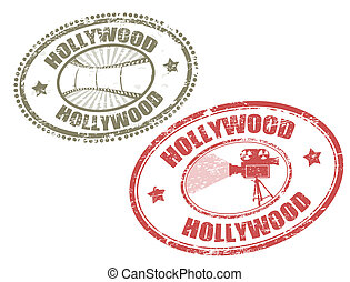 Hollywood stamps - Set of two grunge rubber stamps with the...