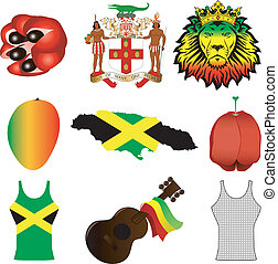 Jamaican Icons - Vector Illustration of 9 different Jamaican...