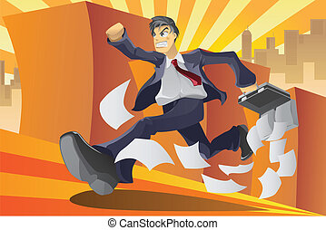 Businessman in a hurry - A vector illustration of a...