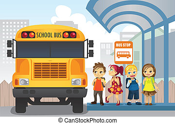 Children at bus stop - A vector illustration of little...
