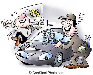 A small dent in the car