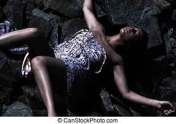Womans body fallen down - Womans body lying in abandoned...