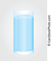 glass of water vector - blue and white glass of water over...