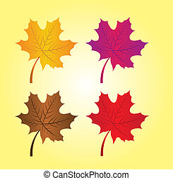autumn leaves - gold, violet,brown and red autumn leaves...