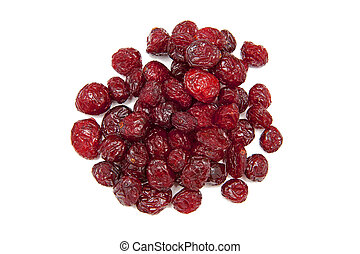 Dried cranberries on the white background