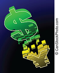 US dollar changes to Chinese Yuan - A US dollar sign falls...