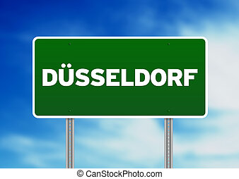 Duesseldorf Roady Sign - Green Duesseldorf highway sign on...