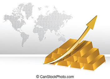 gold prices increase illustration background