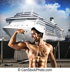 Sexy sailor man - Sexy male model as sailor flexing his...