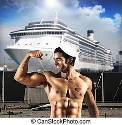 excitado, marinheiro, homem
