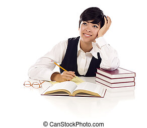 Daydreaming Mixed Race Female Student with Books Isolated