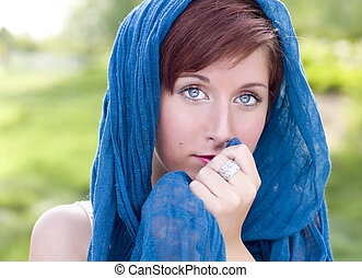 Pretty Blue Eyed Young Red Haired Adult Female Outdoor Portrait