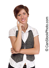 Pretty Smiling Young Adult Female Portrait Isolated