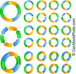 Circles with arrows - Abstract vector circles with arrows on...