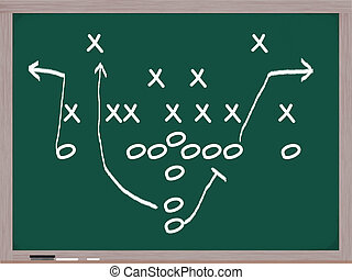 A football play on a chalkboard. - A football play diagram...