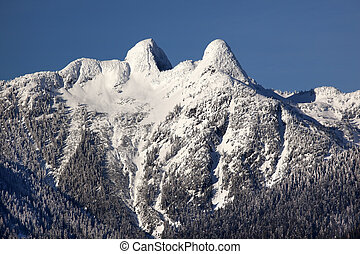 Vancouver Snowy Two Lions Mountains British Columbia -...