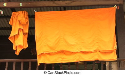 Monk Robes Blowing In The Breeze - Monks robes sway gently...