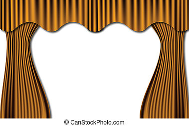 Gold Theatre Curtains. Vector
