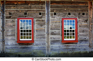 Two Old Red windows