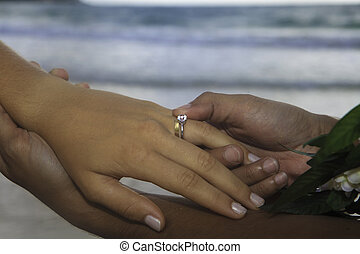 man places a wedding ring